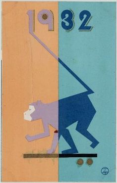 New Year's Card: Monkey: Takahashi Haruka, 1932.