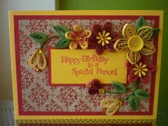 "Handmade Paper Quilling Red Yellow Greeting Card ""Happy Birthday"" with Amazing Flowers (Friend, Birthday,Mother, Sister) by FromQuillingWithLove"