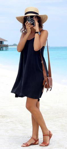 summer outfits Light Hat + Black Dress + Brown Sandals