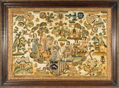 Stumpwork of King Charles II and Caherine from Huber