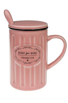 Coffee ceramic mug with lid and spoon (romantic pink) -- Awesome products selected by Anna Churchill
