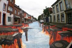 3D street art by Edgar Muller -Lava Burst