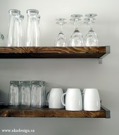 modern rustic - perfect shelves for wine glasses and a couple bottles of wine