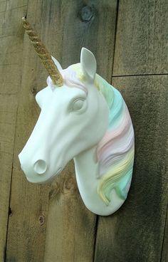 NEW* Large  Unicorn wall mount faux head RAINBOW COLOR MANE  girl bedroom magic