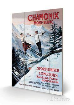Chamonix, Mont-Blanc Tretrykk av Francisco Tamagno hos AllPosters.no