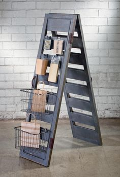 I love this ladder display idea, such an easy way to display with style. Store display idea, pop up shop ideas, craft fair display Gift Shop Displays, Vendor Displays, Craft Booth Displays, Vendor Booth, Store Displays, Display Ideas, Booth Ideas, Retail Displays, Merchandising Displays