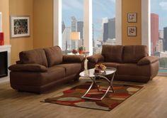 Acme Furniture - Memphis 2 Piece Sofa Set in Chocolate Nubuck - 51725-S+L