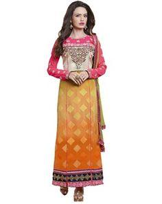 Orange Georgette Embroidered Designer Salwar Suit