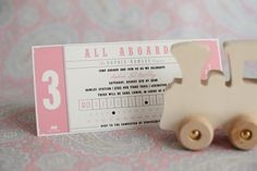 Such a cute idea and invite. A Pink Train Birthday Party | The Sweetest Occasion