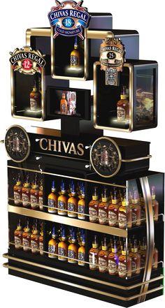 Ponta de Gôndola Premium para bebidas Chivas da Pernord Ricard com iluminação em Led e monitor frontal