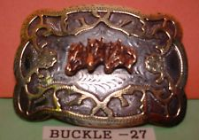 Old Alpaca 3 Horse Heads Awesome Hand Engraving Belt Buckle MAKE AN OFFER $195.00 or Best Offer Free shippingItem image