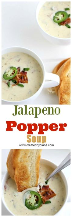 jalapeno popper soup, white bowl of thick creamy beer cheese soup with bacon and jalapenos and a slice of bread www. Easy Soup Recipes, Healthy Recipes, Healthy Soups, Bacon Recipes, Milk Recipes, Delicious Recipes, Keto Recipes, Healthy Eating, Jalapeno Soup Recipe