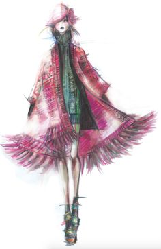 Nanette Lepore plus 32 other designer sketches from NYFW fall/winter 2015.