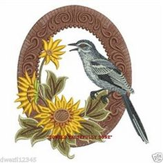 VICTORIAN BIRD & SUNFLOWERS - LOVELY - 2 EMBROIDERED HAND TOWELS by Susan