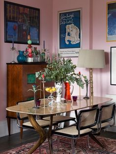 The dining area in interior designers and artists Luke Edward Hall and Duncan Campbell's London home