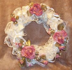 pink shabby chic things | Wreath, Handmade Country Pink Mauve Rose Wreath Shabby Chic Vintage ...