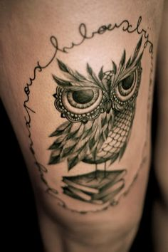 Love the eyes on this owl- LHeure Bleue Tattoo by Dodie