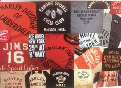 Section of vintage speedway graphics