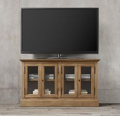 "French Casement 54"" Glass Media Console"