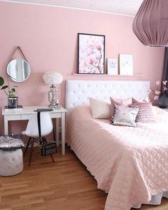 Lovely Girly Bedroom Design Home Ideas Pink Bedroom Design, Bedroom Paint Colors, Contemporary Bedroom, Modern Bedroom, Master Bedroom, White Bedroom, Bedroom With Vanity, Unique Teen Bedrooms, Bedroom Rustic