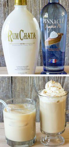 Drunken Pumpkin Latte: Brewed Coffee, Milk, Rumchata, Pumpkin Pie Vodka, Sugar, Ground Cinnamon.