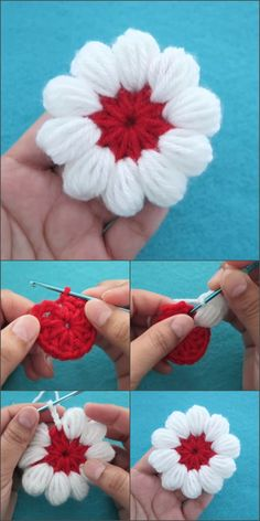 Crochet Puff Petals Flower – Crochet and Knitting Patterns Beau Crochet, Crochet Puff Flower, Crochet Flower Tutorial, Love Crochet, Beautiful Crochet, Crochet Flowers, Yarn Flowers, Crochet Leaves, Crochet Motifs