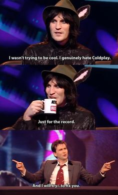 Panel Shows - David Tennant and Noel Fielding: Coldplay. Never mind the Buzzcocks. One of my favorite moments from one of my favorite episodes. Noel Fielding, British Humor, British Comedy, Cristina Ferreira, The Mighty Boosh, Funny Memes, Hilarious, Coldplay, David Tennant
