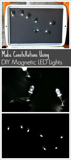 Astronomy for Kids: Make constellations using DIY magnetic LED lights- a fun science activity for kids to explore stars and the night sky! ~ BuggyandBuddy.com