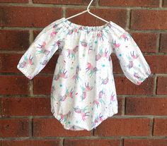 d159a555e7de Baby girl romper unicorns    designer cotton bubble or play suit with short  or long sleeves    size nb 3 6 12 18 mths 2T    summer baby