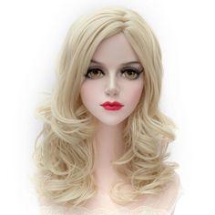 Attractive Shaggy Wavy Long Capless Centre Parting Light Blonde Synthetic Women s  Wig f46d5de204