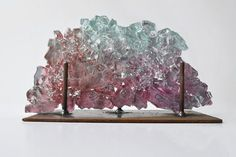 Reclaimed Glass Sculpture, Blush Pink Dreamscape Glass Art, Table Top Glass Decor, MIRA WOODWORTH