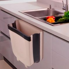 Wall Mounted Folding Waste Kitchen Bin Cabinet Door Hanging Trash Bin Garbage Car Trash Can Wall Mounted Foldable Design. Always tidy and Clean kitchen