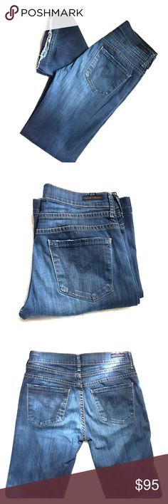 Citizens if Humanity Mid-Rise Wide Leg Denim Jeans Brand: C of H. Color: Dark Blue. Size Type: TTS. Material: PIC#5. Size:27W. Gently worn. 31inseam. Pic#1 shows minor wear on bottom of pant. Buyers can expect: Careful packaging, Fast shipping, & Delivery confirmation with each item purchased! PET FREE HOME & SMOKE-FREE HOME. Please note: Due to lighting and monitors, the items colours may be slightly differ with the picture. Citizens Of Humanity Jeans Flare & Wide Leg