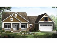 Craftsman House Plan with 1816 Square Feet and 3 Bedrooms(s) from Dream Home Source | House Plan Code DHSW64725