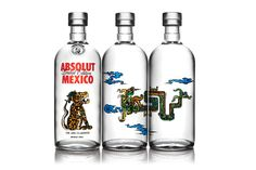 ABSOLUT Vodka Bottles ~ homage to Mexican Culture, limited edition bottles paying tribute to ancient Mayan culture with graphics embellished with themes of Balam, Kukulkan and Hurakan respectively representing the jaguar, the feathered serpent and the wind.