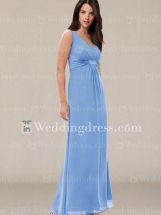 Chiffon V-Neck Bridal Party Dress with Straps BR124