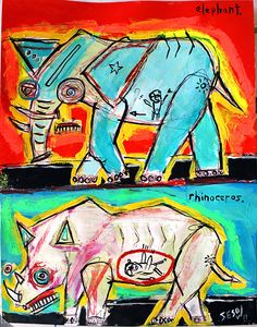 Elephant and Rhinoceros, with dead poachers by Matt Sesow see the latest Sesow paintings at http://new.sesow.com