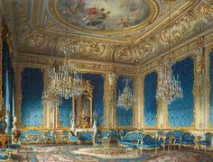 The blue drawing room inside the Palace of Baron Stieglitz in 1870, Saint Petersburg