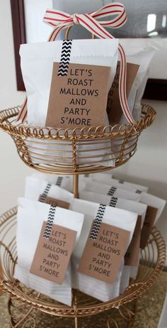 S'mores favors at a farm-to-table dinner party! See more party planning ideas at CatchMyParty.com!