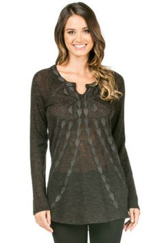 Knit Embroidered Long Sleeve Top – Monoreno charcoal sweater - The Aurora Company - www.theauroraco.com