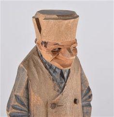 Lot: 4167821 Carl Johan Trygg. 2 st. snidade skulpturer (2)