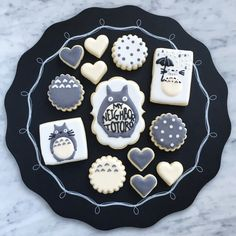 My Neighbor Totoro sugar cookies Kawaii Cookies, Cute Cookies, Sugar Cookies, Totoro, Cute Desserts, Beautiful Desserts, Cupcakes, Cake Business, Baby Shower Cookies