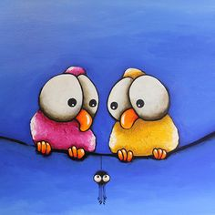 Original acrylic canvas painting whimsical bird that awkward moment for spider Simple Canvas Paintings, Happy Paintings, Watercolor Animals, Watercolor Art, Acrylic Canvas, Canvas Art, Drawings For Boyfriend, Art Fantaisiste, Art Mignon