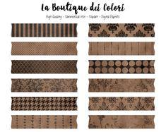 Brown Digital Washi Tape Clipart, Cute Broder Clip art Frame, Label, Banner, Tag Scrapbook Personal
