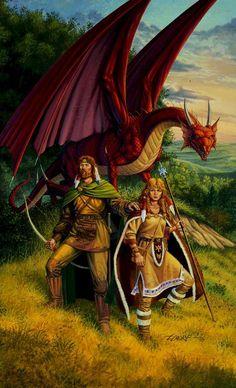 Dragonlance, Larry Elmore: Tanis Half-Elven, with Goldmoon