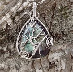 Tree of Life Pendant covering Beautiful Rare Colored Labradorite by TheSleepyFirefly