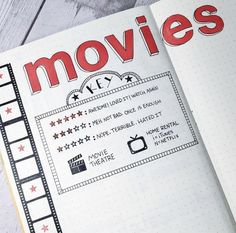 TV & Movie Bullet Journal Spread Inspiration Gallery. Templates, Inspiration, Giveaways and more at http://bulleteverything.com.