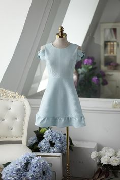Korean fashion round neck strapless flounced short-sleeved dress AddOneClothing.com  Size Chart