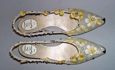 Christian Dior evening shoes from 1960 made from silk embroidered flower embroidery, cotton, glass, metal and leather by designer Roger Vivier for House of Dior.