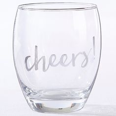 "Say ""cheers"" with Kate Aspen's stemless wine glasses."